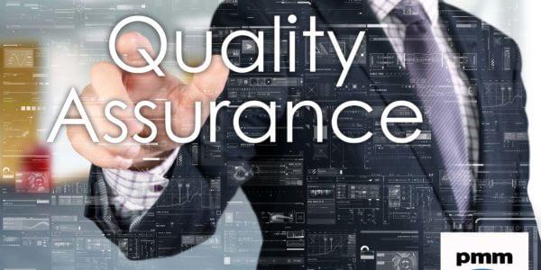Business man clicking quality assurance