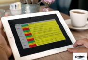 Reviewing PMO RAG level guidance on tablet