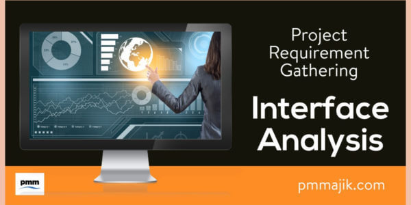 Person using interface analysis to develop project requirements