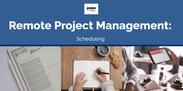 Remote project team members creating schedules